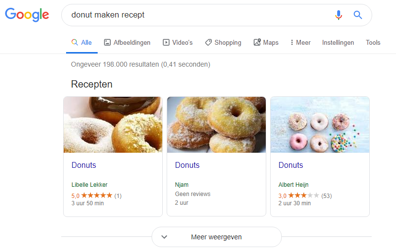 featured snippet over donut recept