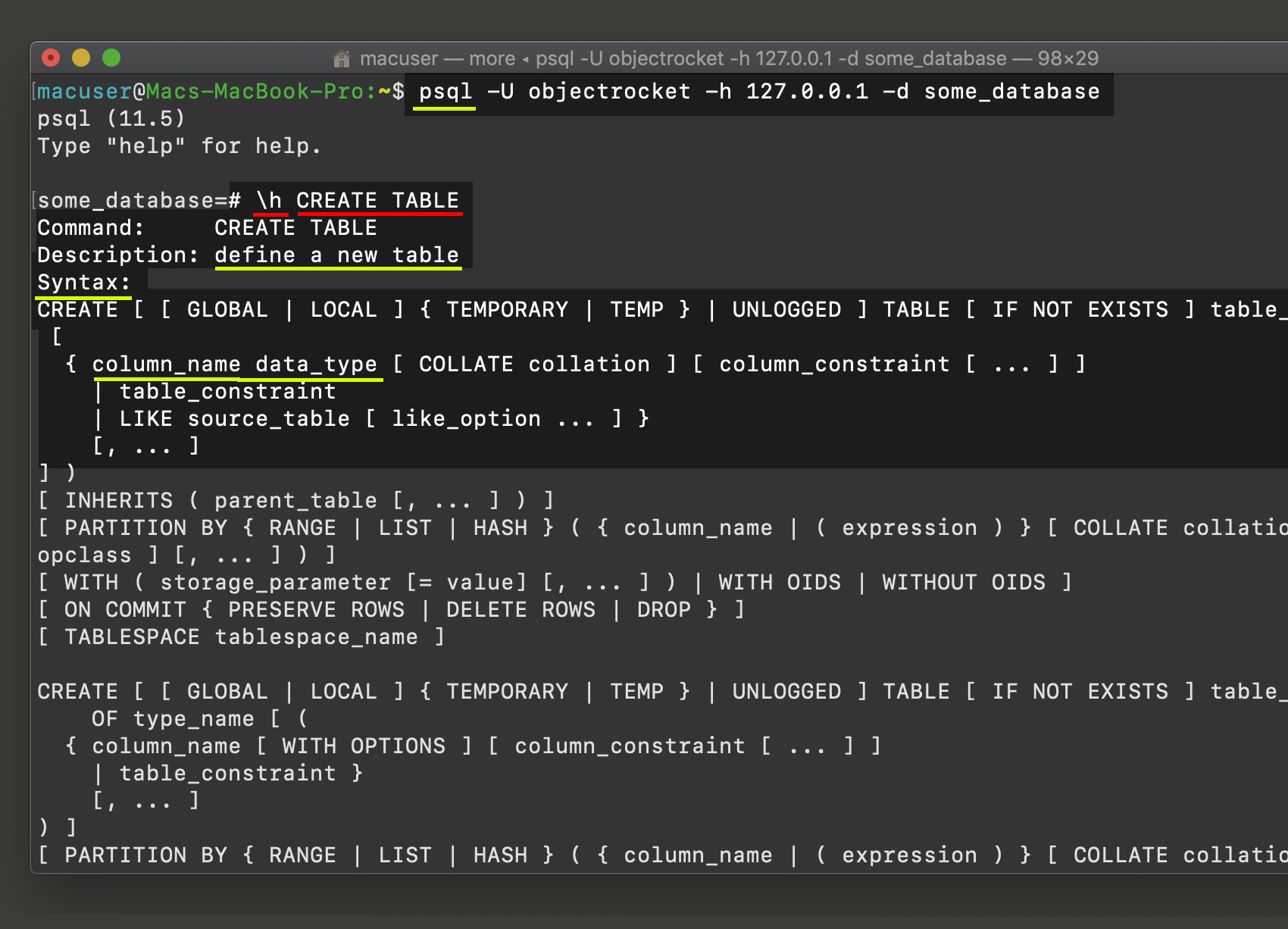 Screenshot of psql using the \h PostgreSQL help command to return info about CREATE TABLE SQL keyword