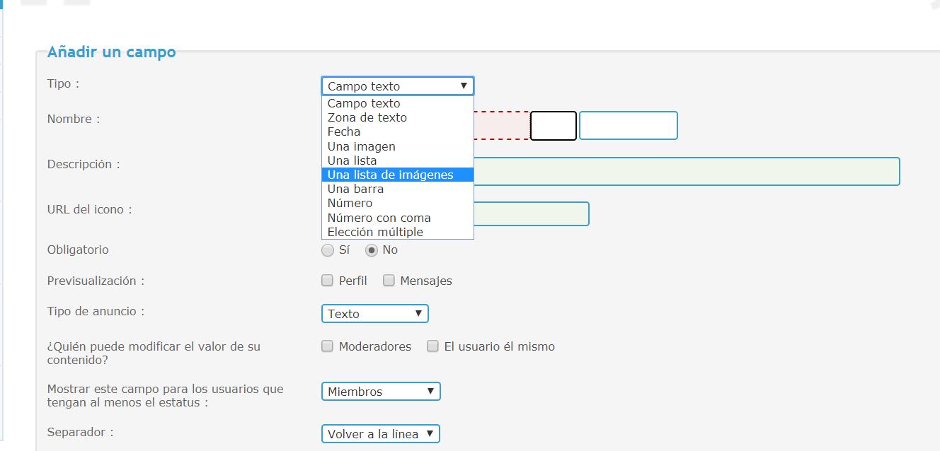Crear una lista desplegable de imágenes en el perfil 1e1acdafcf5775ae3df409b0fc248543