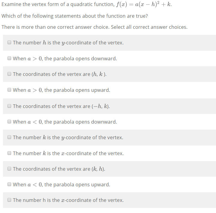 Solved Examine The Vertex Form Of A Quadratic Function F