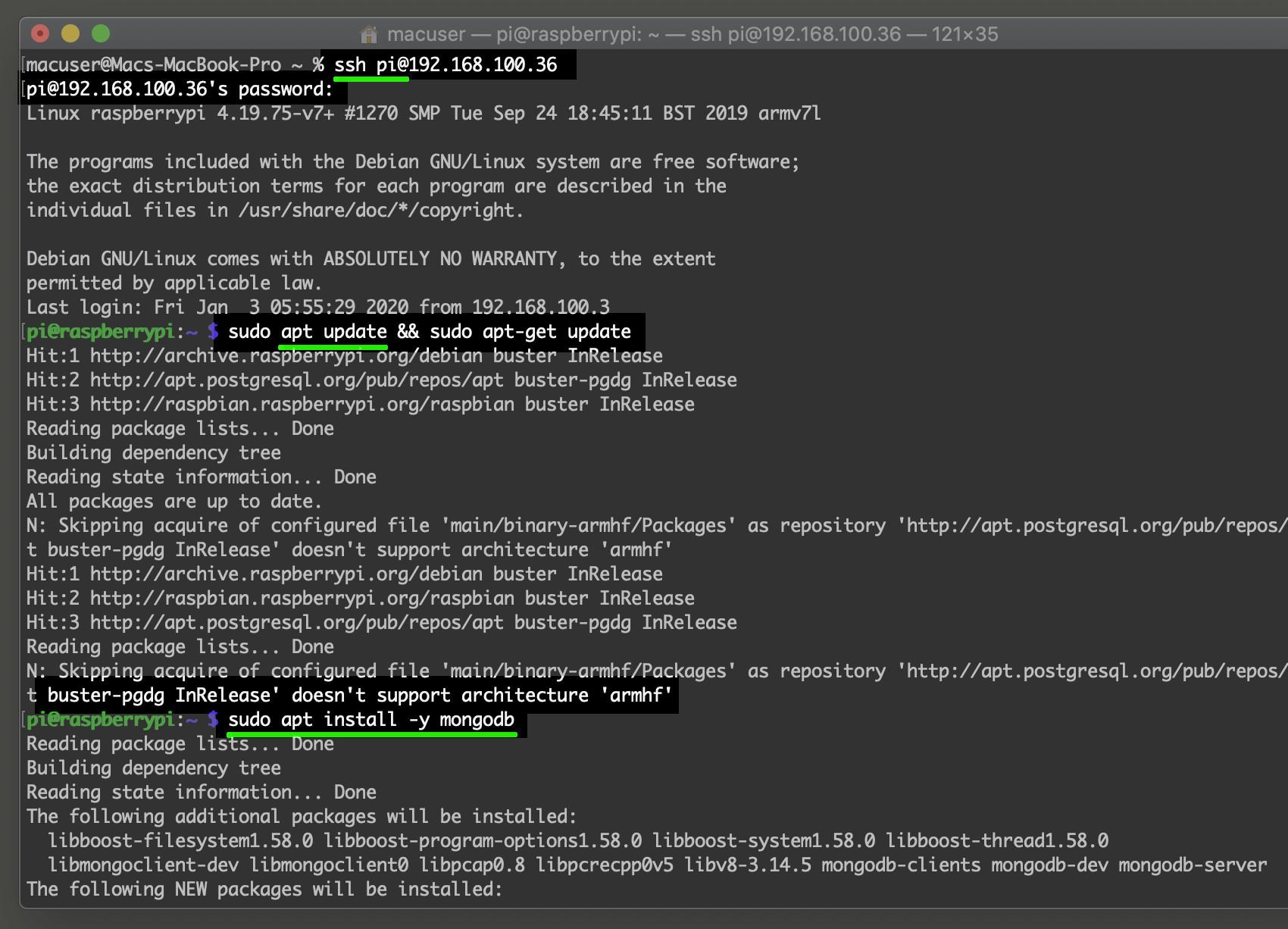 Screenshot of Debian APT repository installing MongoDB on the Raspberry Pi