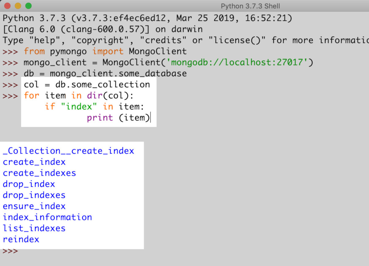 How to use Python to Check if an Index Exists for a MongoDB