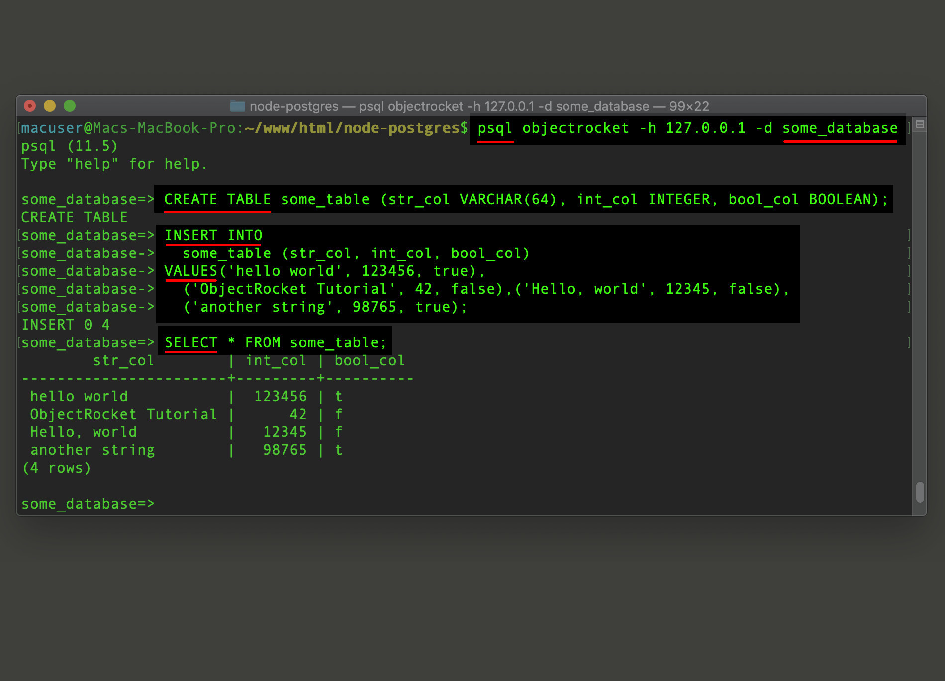 Screenshot of psql creating a PostgreSQL table and inserting records