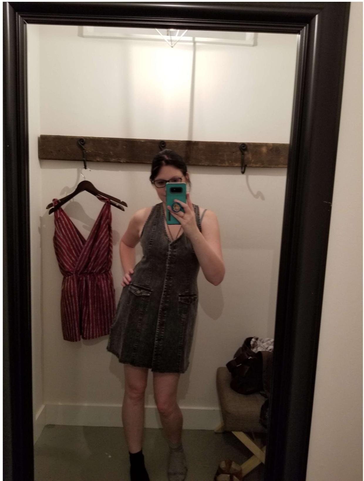 Posh Peach Edgy Denim Dress