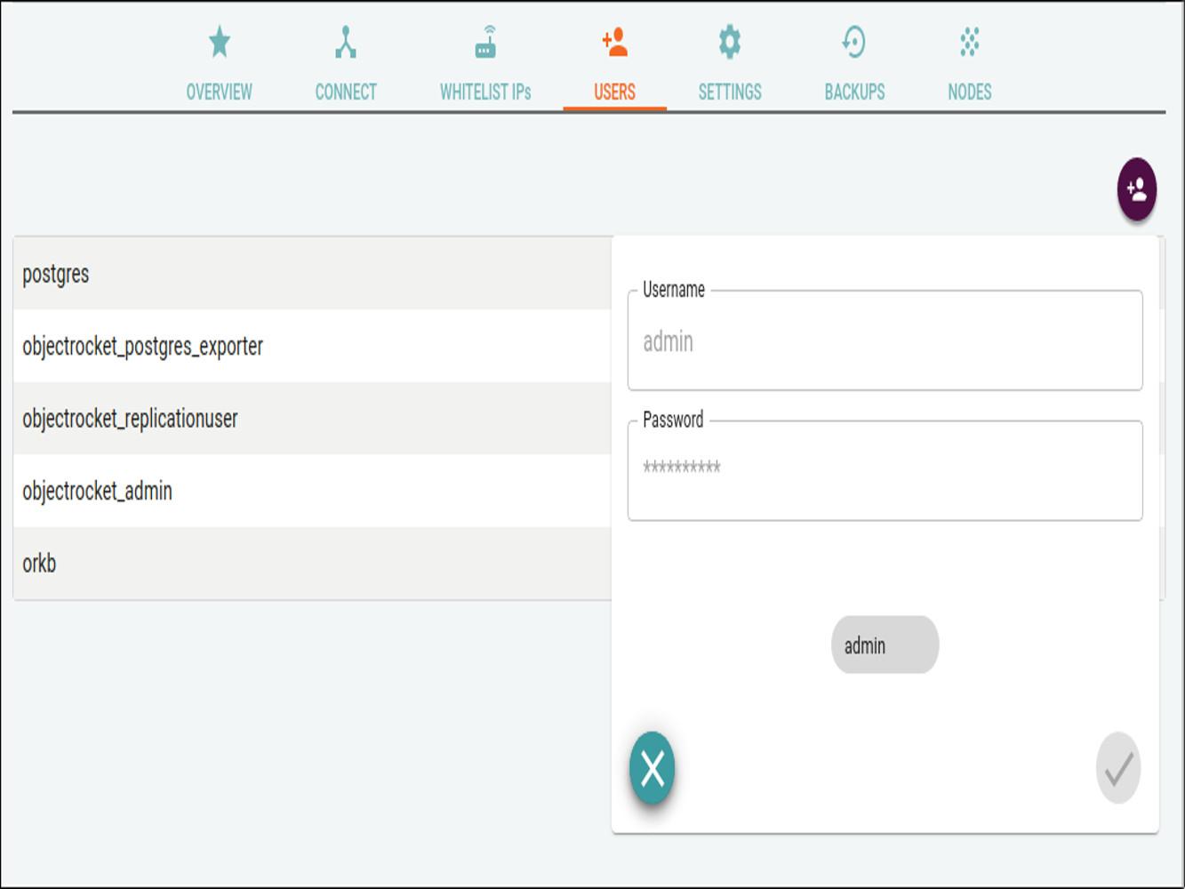 Screenshot of the add user button in PostgreSQL instance