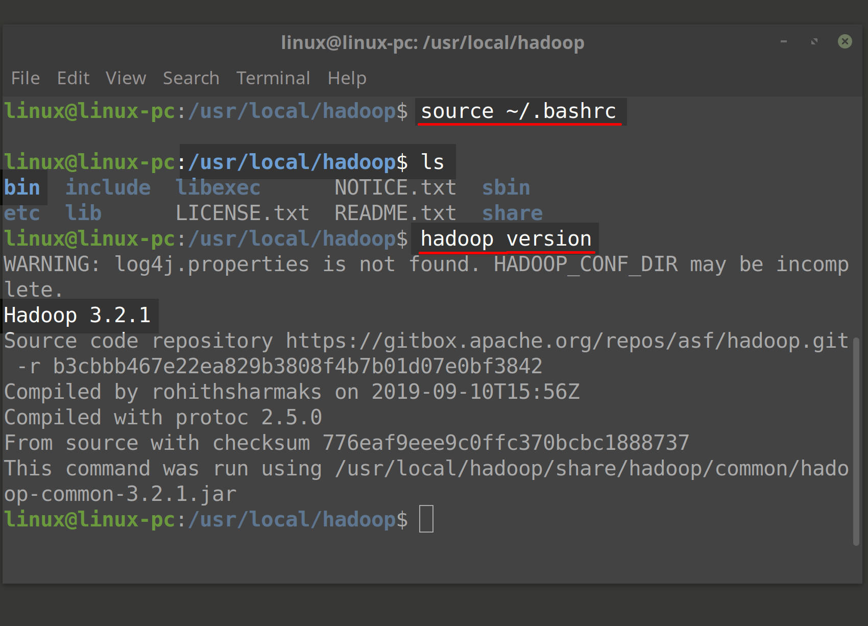 Screenshot of Linux terminal using wget to download Hadoop and tar extract