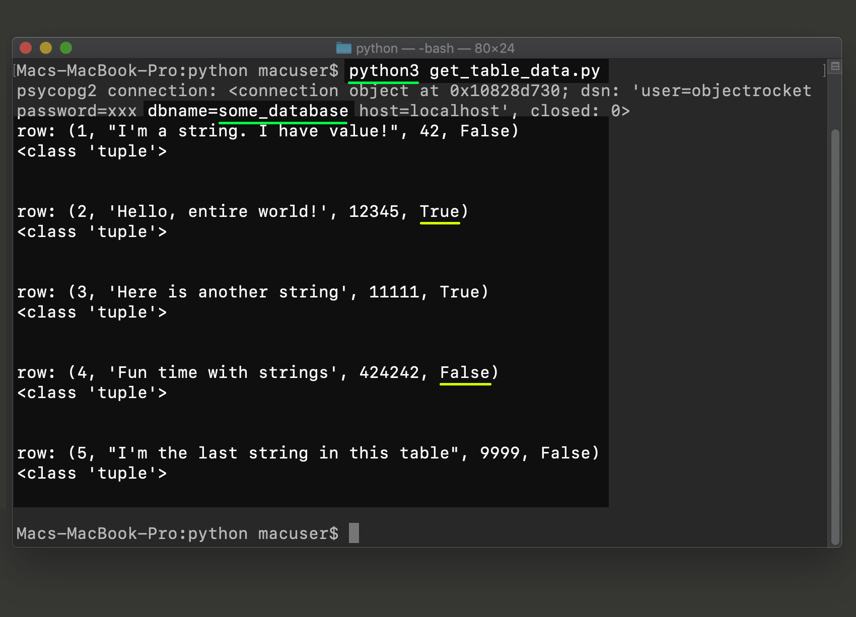 Screenshot of a Python 3 script running in a terminal window to get the table data from a PostgreSQL database