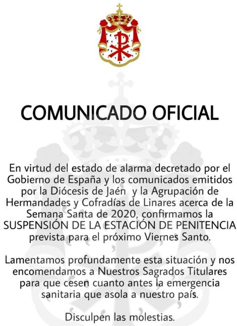 comunicado suspension estacion de penitencia expiracion linares 2020