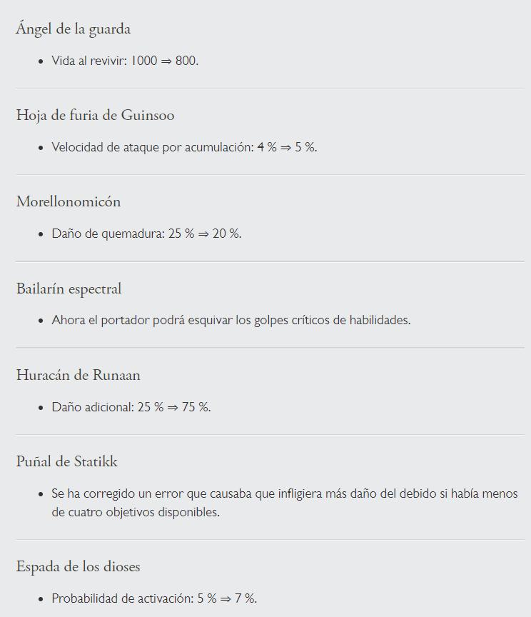 Cambios en objetos en la versión 9.15B de TFT. Fuente: https://euw.leagueoflegends.com/es/news/game-updates/patch/teamfight-tactics-patch-915b-notes