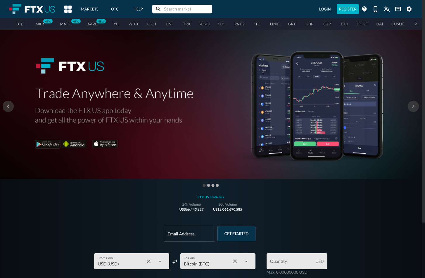 FTX.US front page screenshot