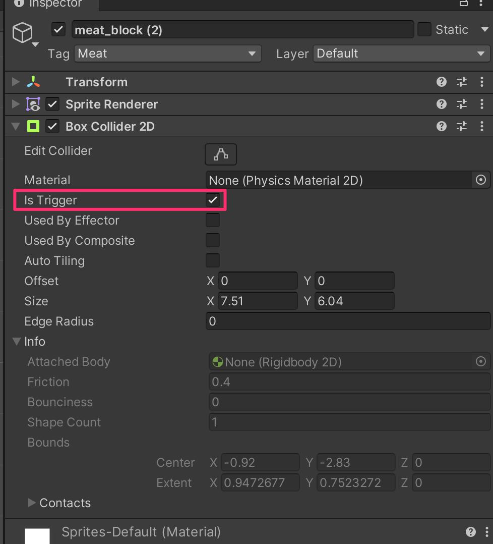 Unity 2DでオブジェクトのIn Triggerオン