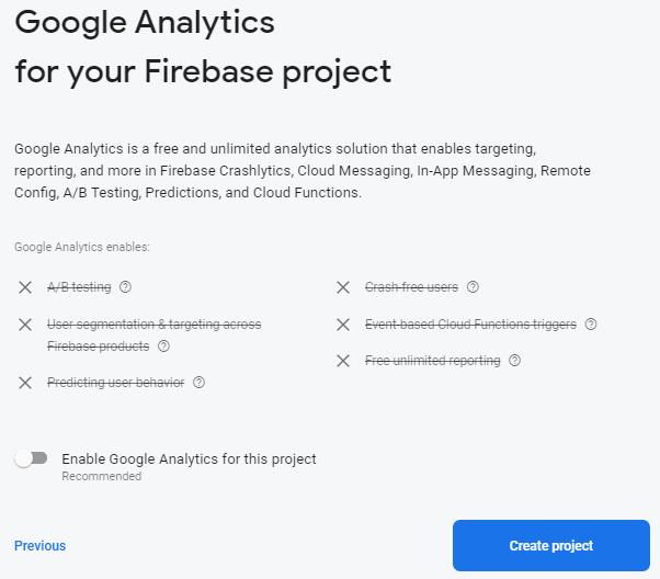 Firebase turning off Google Analytics