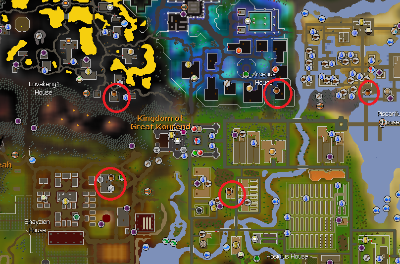 Below Is A Map Of Kourend With All The General Store Circled In Red.
