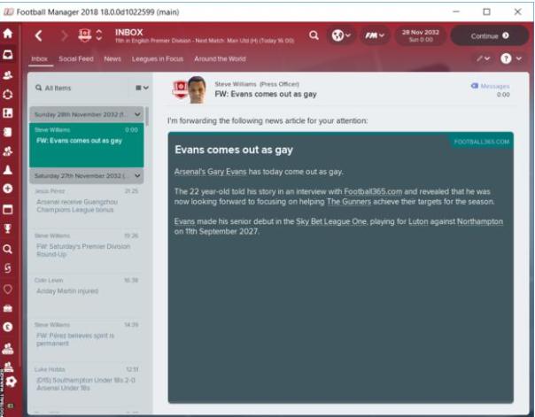 Вигре Football Manager 2018 футболисты смогут исполнять каминг-аут