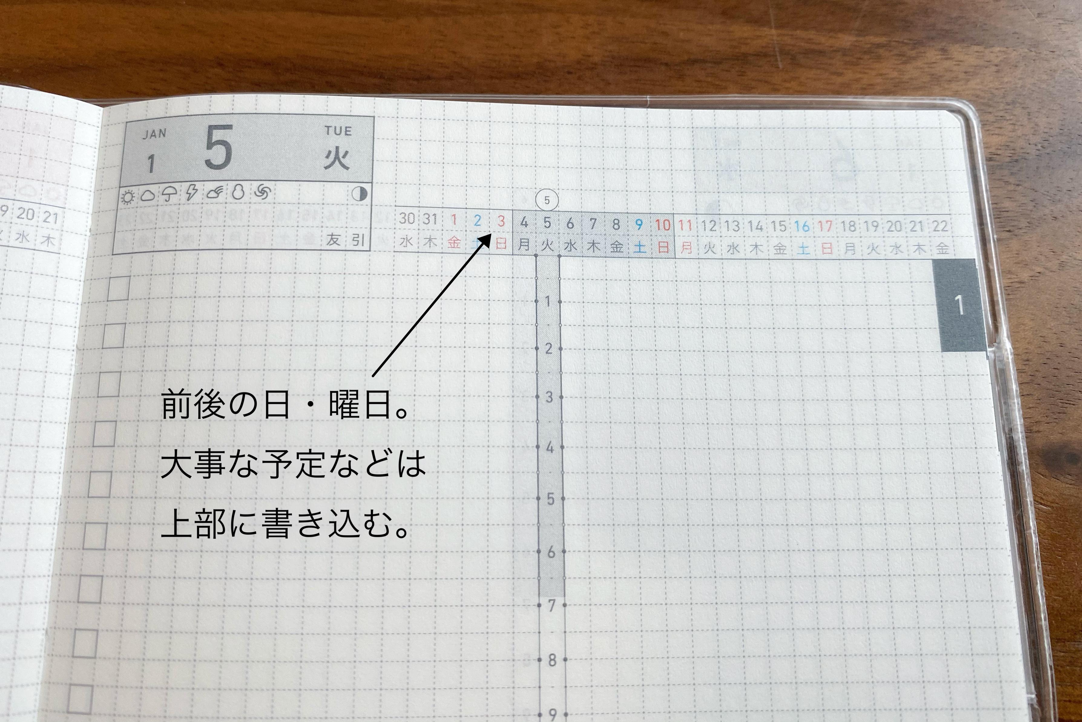 ジブン手帳DAYs T字の上