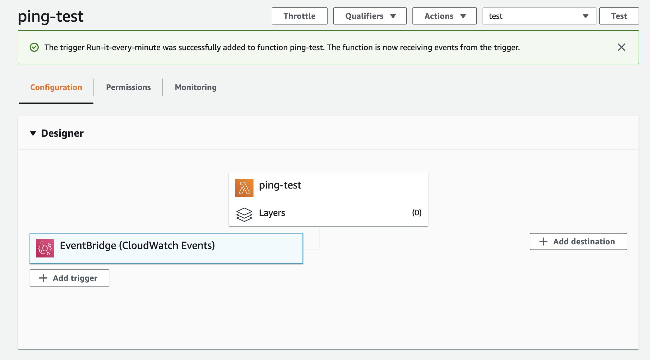 Lambda + EventBridge で関数の定期実行を実現した際の画面