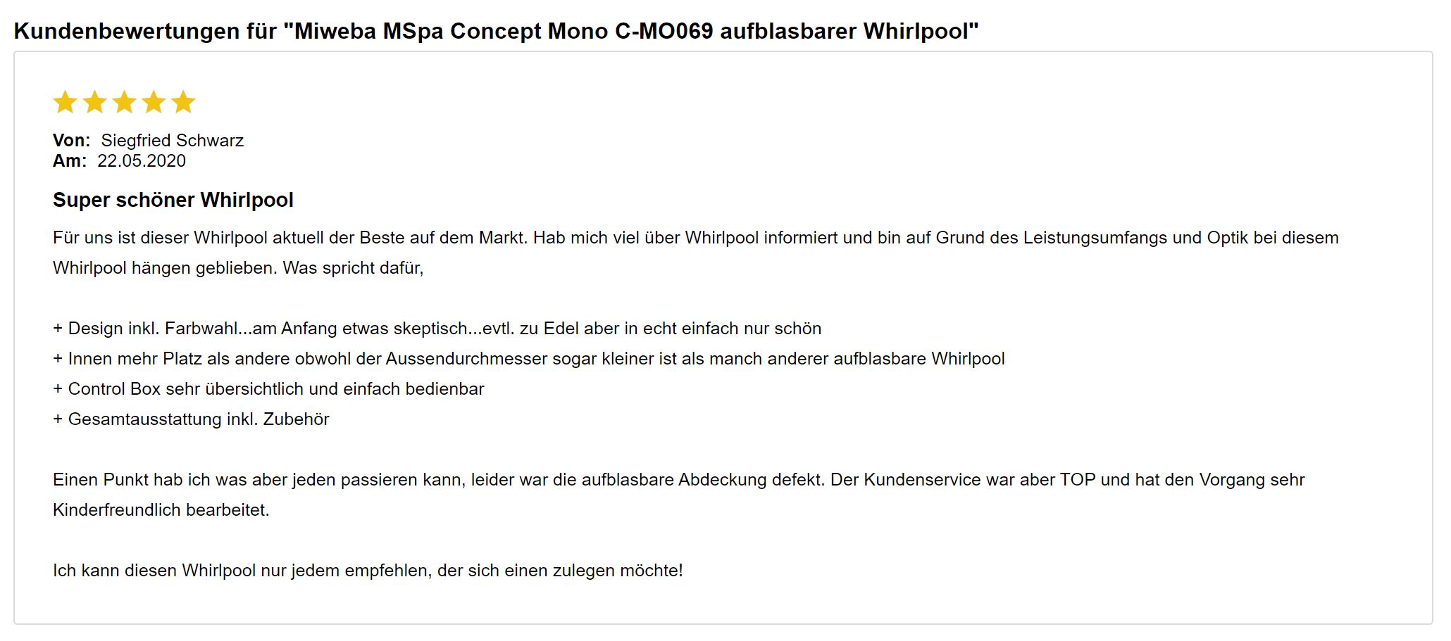 Kundenbewertungen zum Miweba MSpa Concept Mono C-MO069 Whirlpool aufblasbar