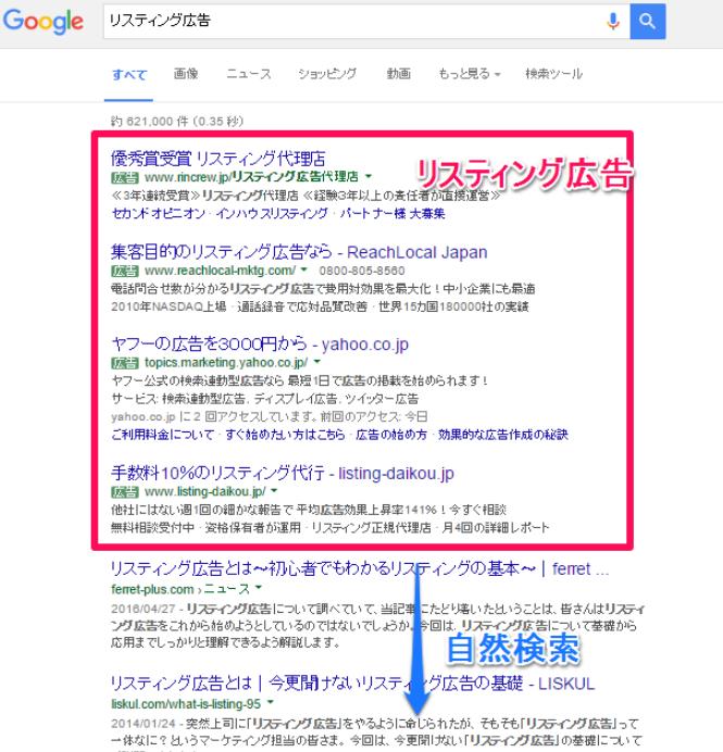 検索結果画面に表示されるテキスト広告