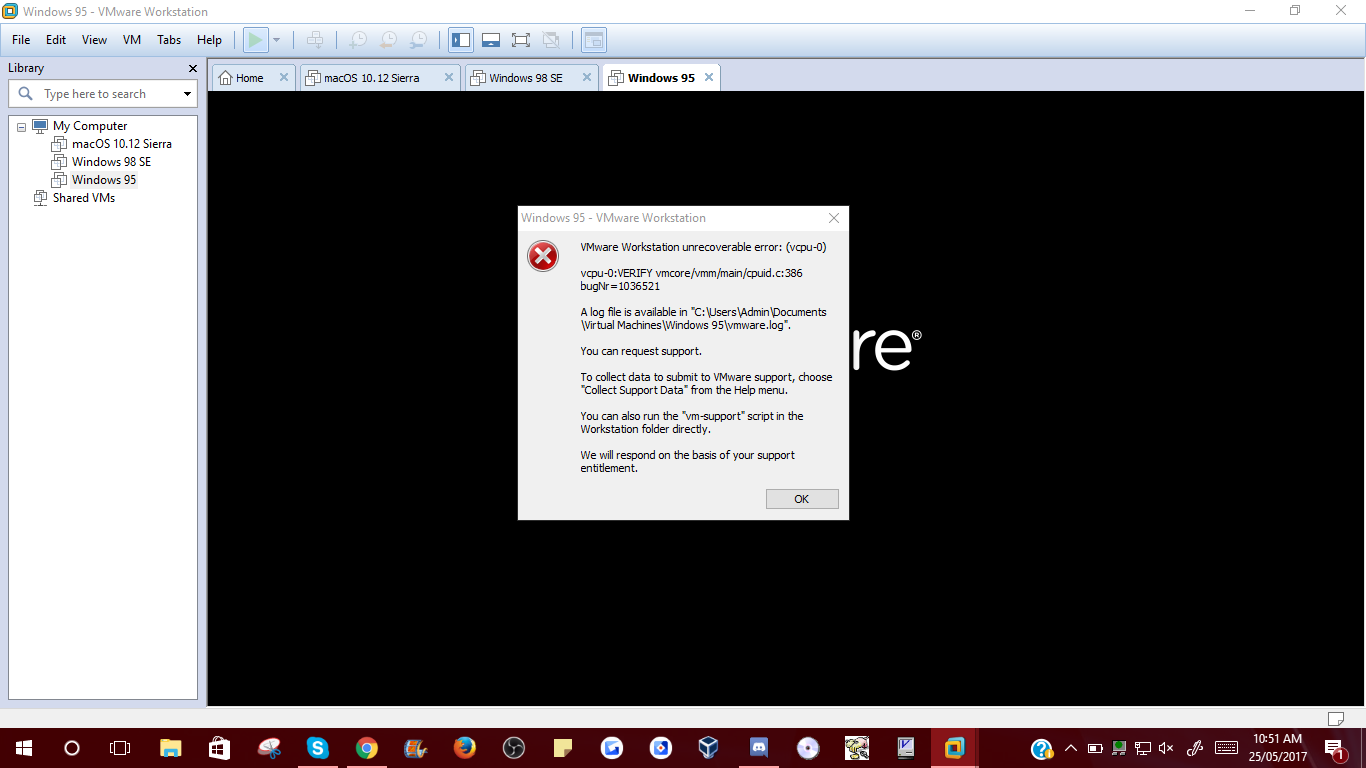 Help with VMWare Workstation 12 when installing Windows 95 — WinWorld