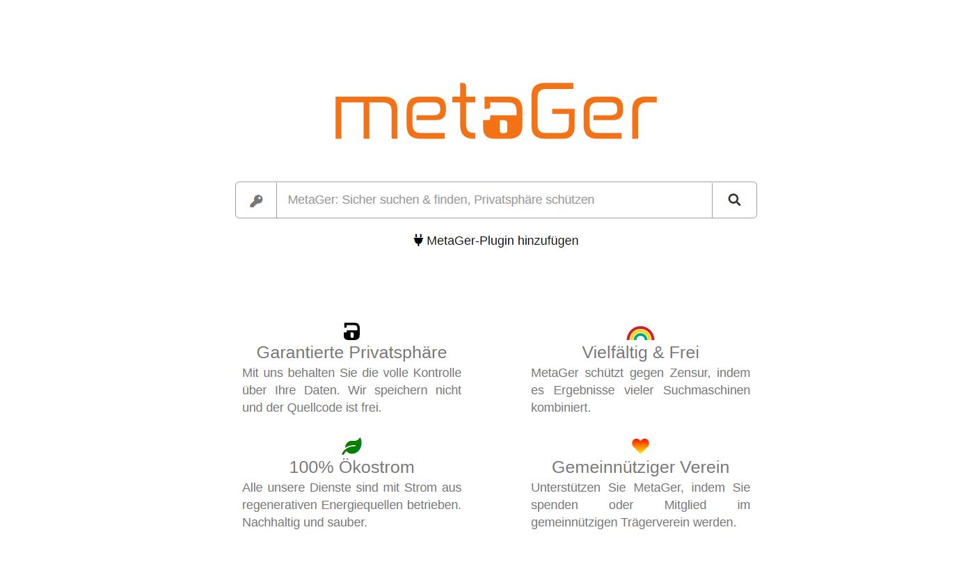 MetaGer.de - Screenshot der Startseite