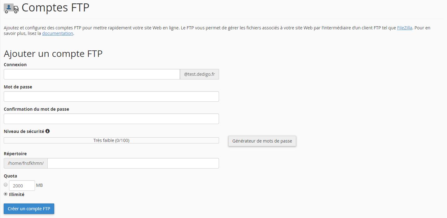 Panel avancé - Comptes FTP
