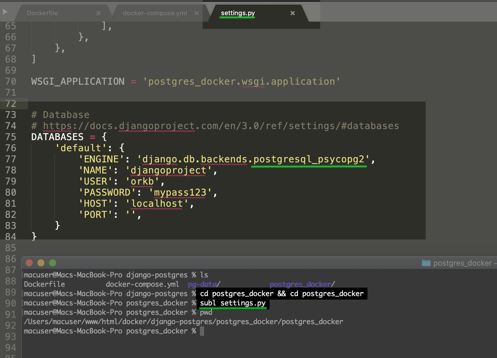 Screenshot of Django tutorial PostgreSQL changing settings for the Django project