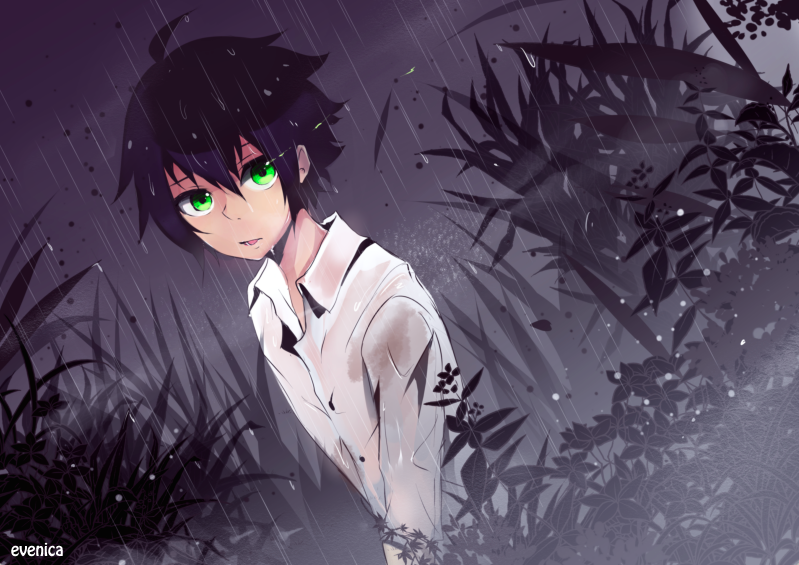 yuu started pushing himself up arms and legs straining from the ache of his fall he glanced at his only seeing dense fog and tall grass