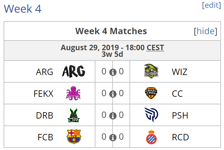 Enfrentamientos del día 29 de agosto de 2019. Fuente: https://liquipedia.net/rocketleague/ESL/Masters_España/Season_6/League_Play