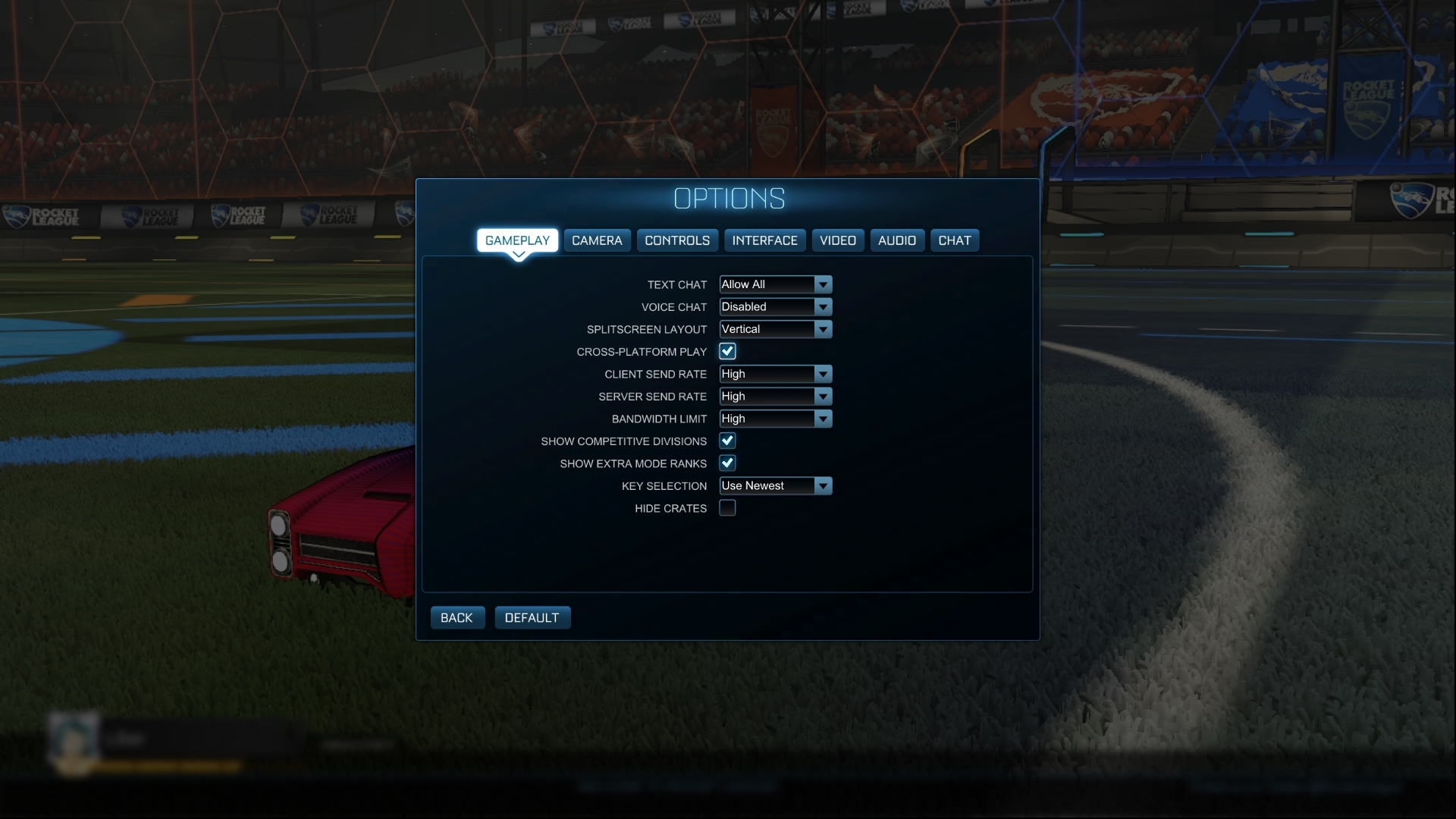 El juego cruzado o cross-play puede activarse y desactivarse en el menú del juego. *Imagen con el lenguaje del juego en inglés.