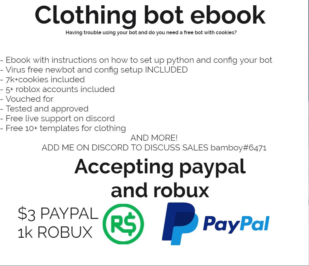 Selling Clothing Favorite Bot Guide Ebook 21k R Roblox 1k Robux Image Https Igyazocom 34ddab1e9938bfd5b85b80b2cd