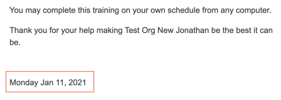 Email from learner perspective with dynamic dates.