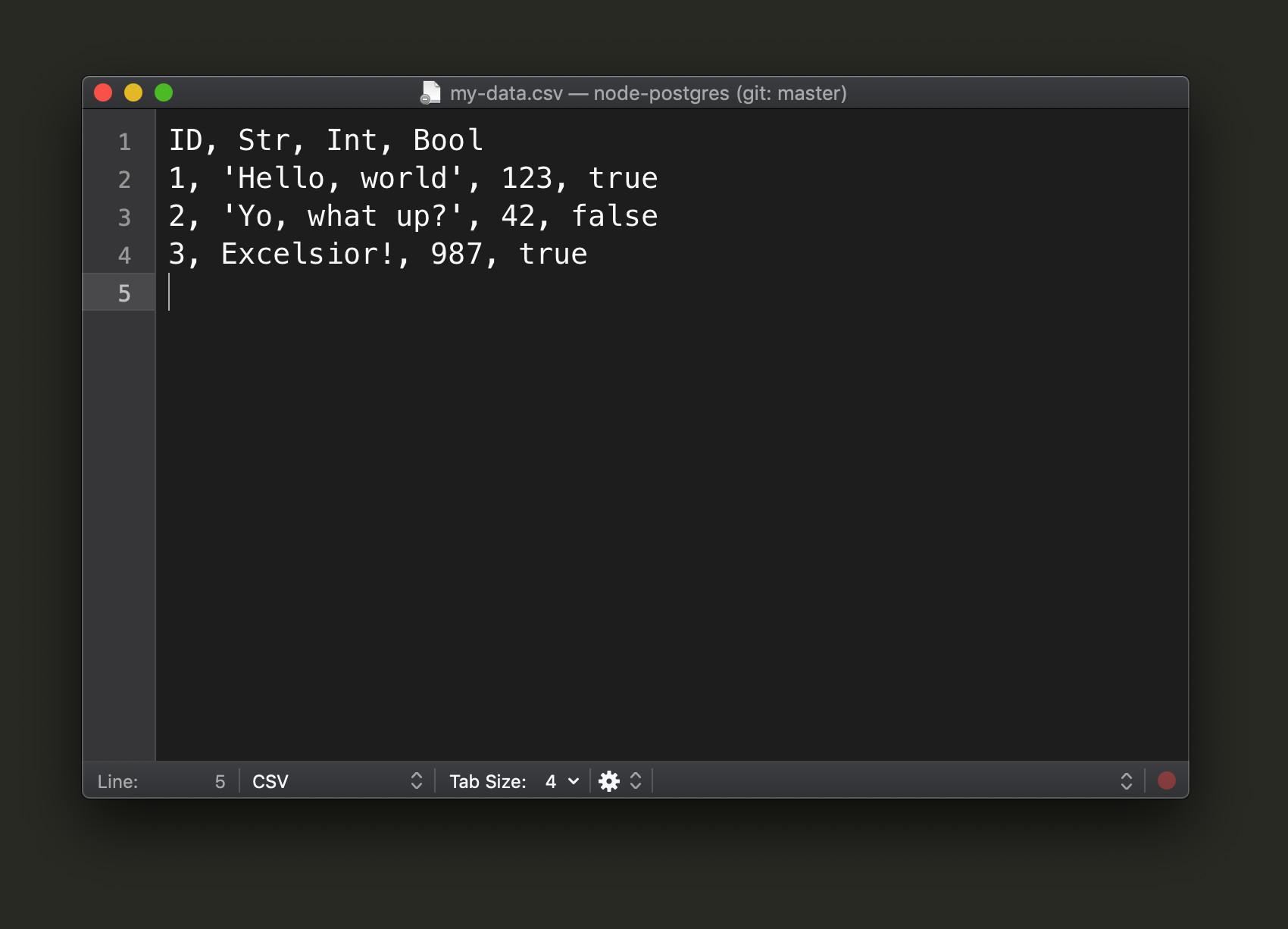Screenshot of sample CSV data for PostgreSQL Node insert code