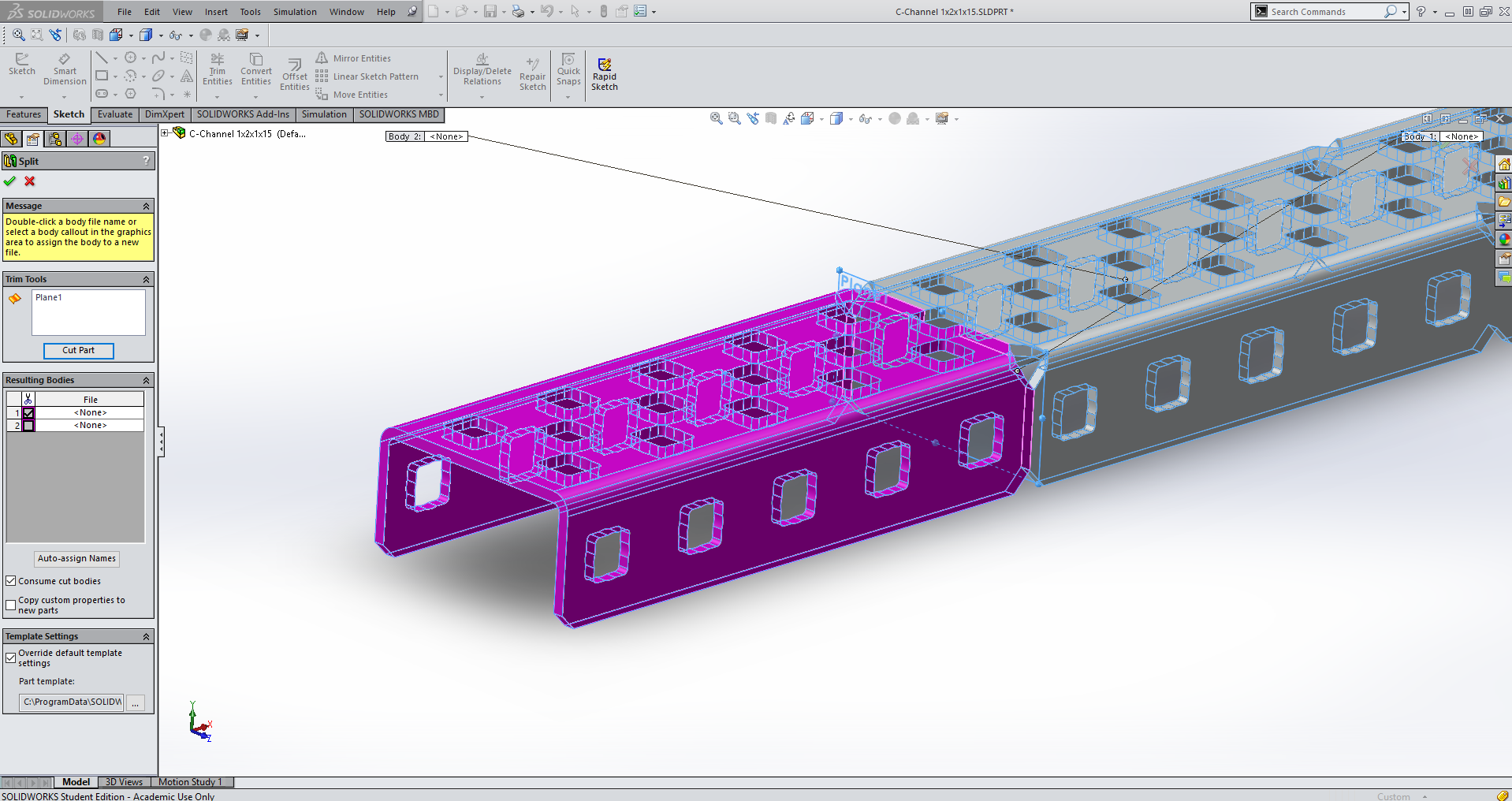 Solidworks Question How Best To Cut A Part During Assembly Vex Forum Parts Of Plane Diagram Then Confirm The Split Operation And Hide From View