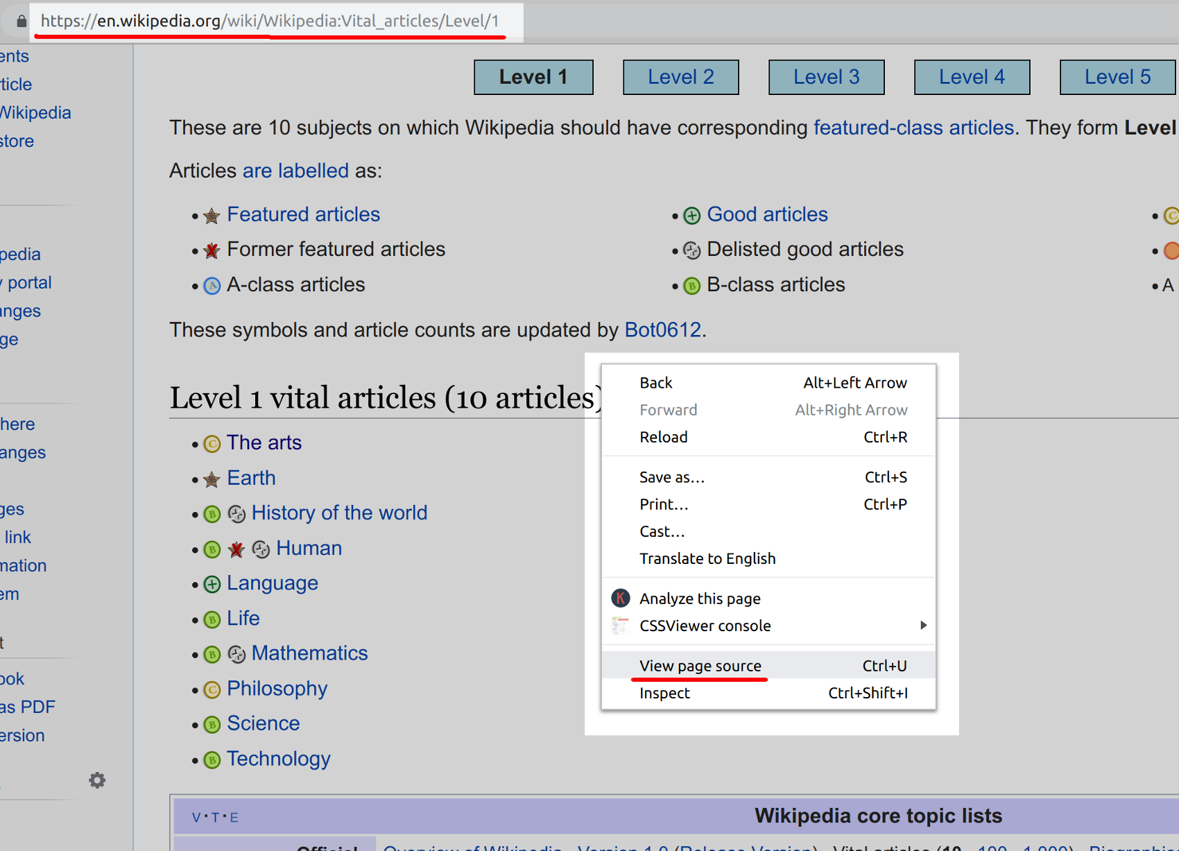 Screenshot of Wikipedia in a browser with View Page Source option