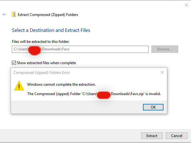 Windows cannot complete the extraction? | Tom's Hardware Forum