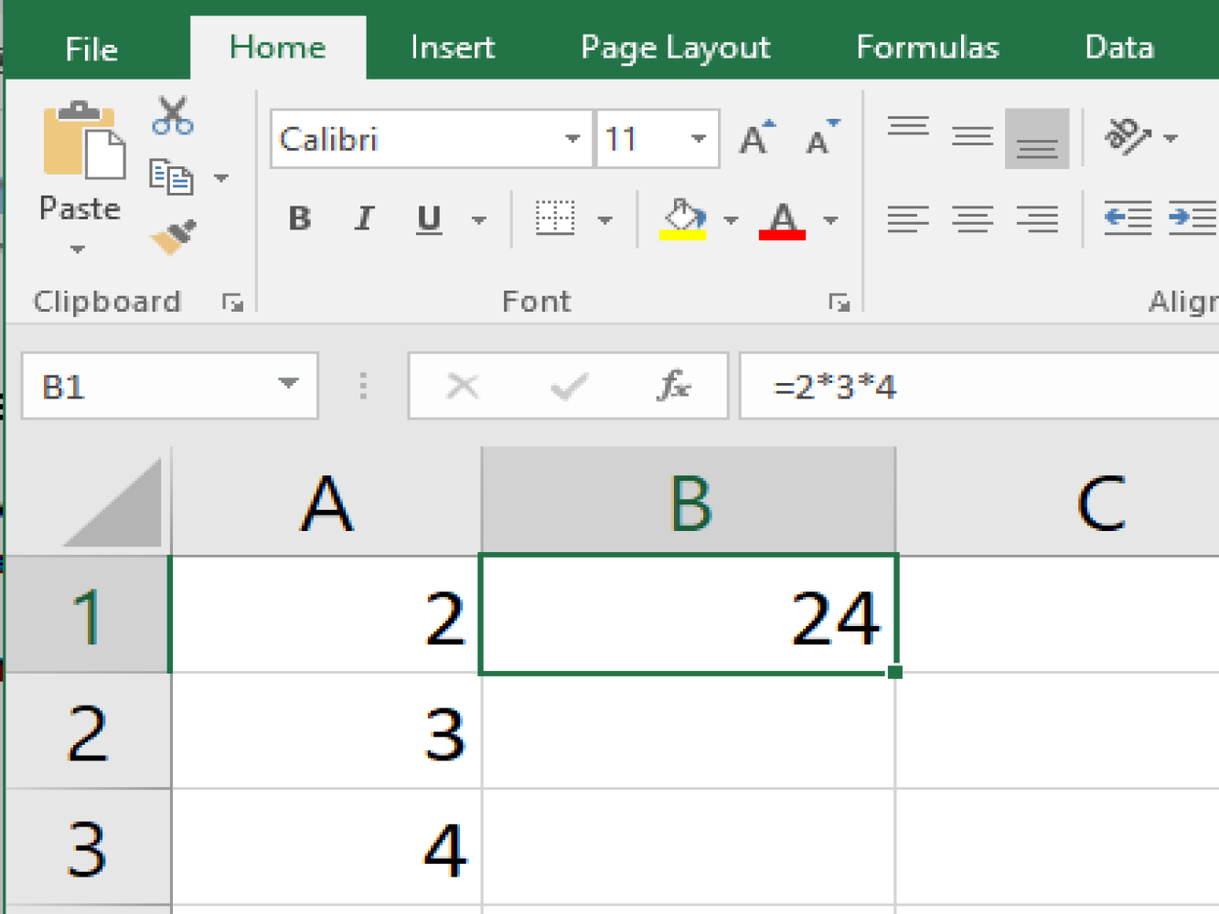 Screenshot of an Excel sample performing a multiply function using numbers
