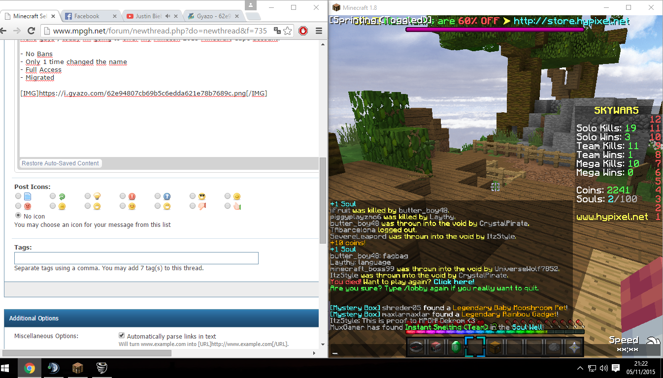 WTS] Minecon 2013 Cape Account - MPGH - MultiPlayer Game