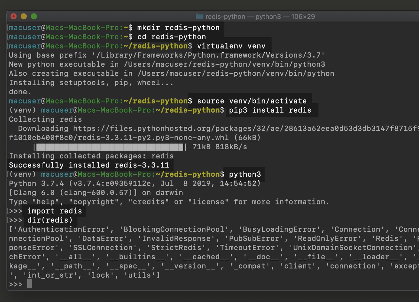 Python virtual environment for a Redis server in macOS terminal