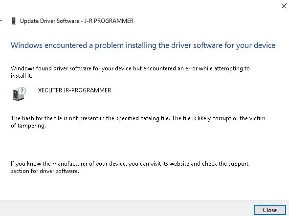 Solved - J-runner Driver not installing (Windows 10