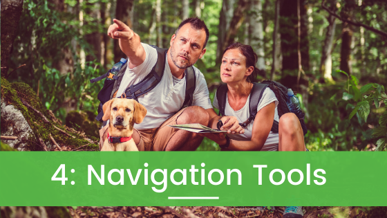 Navigation Tools, Compass and Map for Hiking