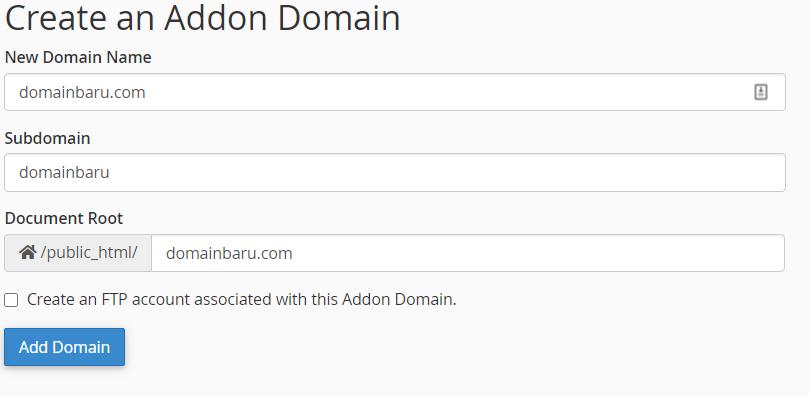 Cara Menambahkan Domain Baru ke Hosting atau Addon Domain (2020) 5