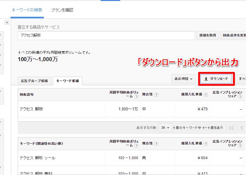 関連キーワードや検索ボリュームの一覧をExcelファイルで出力することもできます。