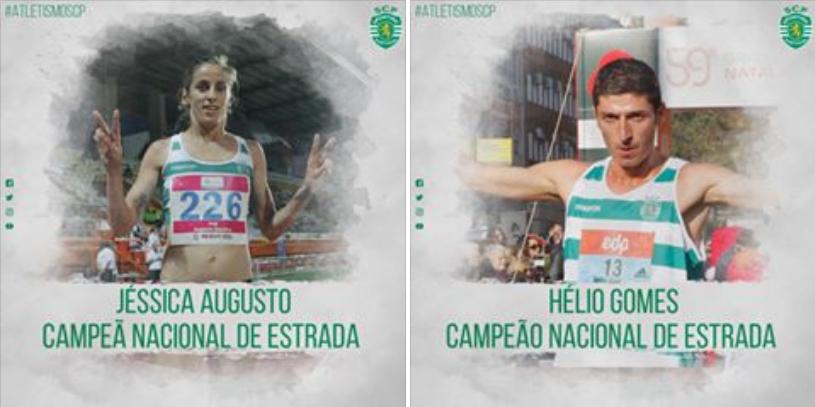 Atletismo: Jéssica Augusto e Hélio Gomes são Campeões Nacionais de Estrada