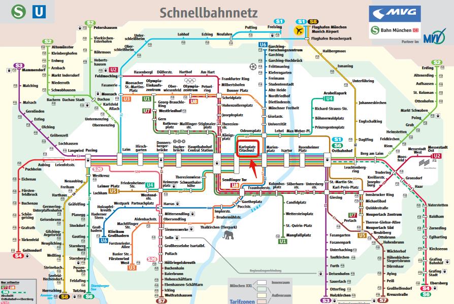 Mappa della Metropolitana di Monaco di Baviera