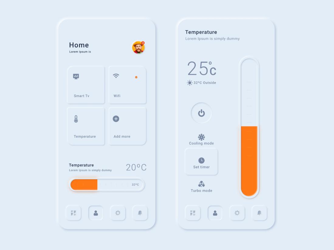 Neumorphismus Konzept - Temperatur-App UI-Design