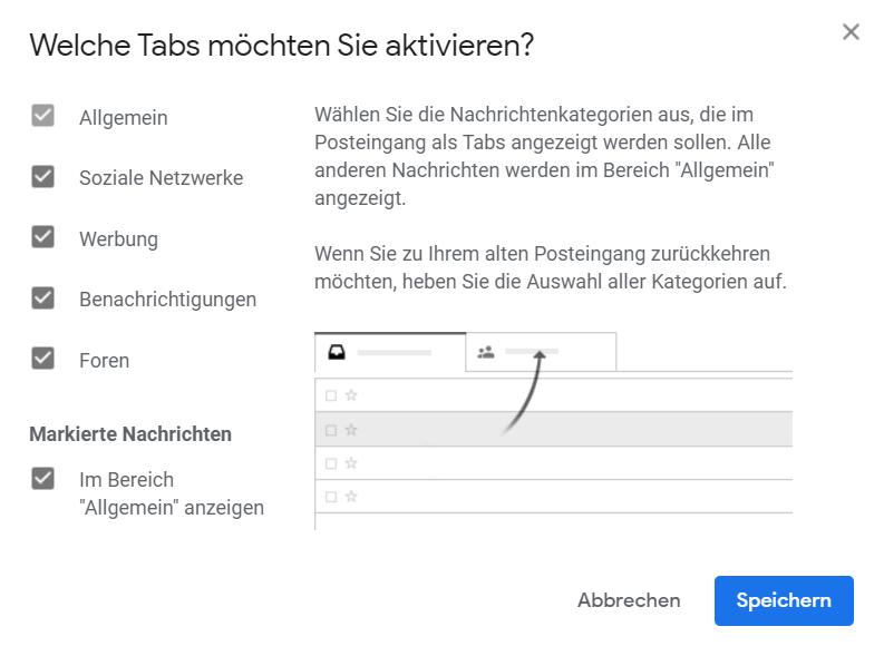 "Screenshot: Gmail Posteingang ""Welche Tabs möchten Sie aktivieren?"" - Konfiguration"