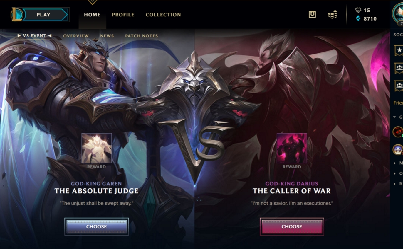 I Tried Clicking On Garen Had Selected Darius Before When The Event Started And After Like 5 Or 10 Minutes Got Missions Too