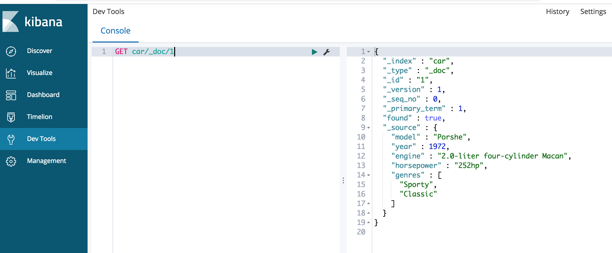 Using GET request in Kibana's console to have Elasticsearch return a document of an index using the index name, index type, and doc ID number
