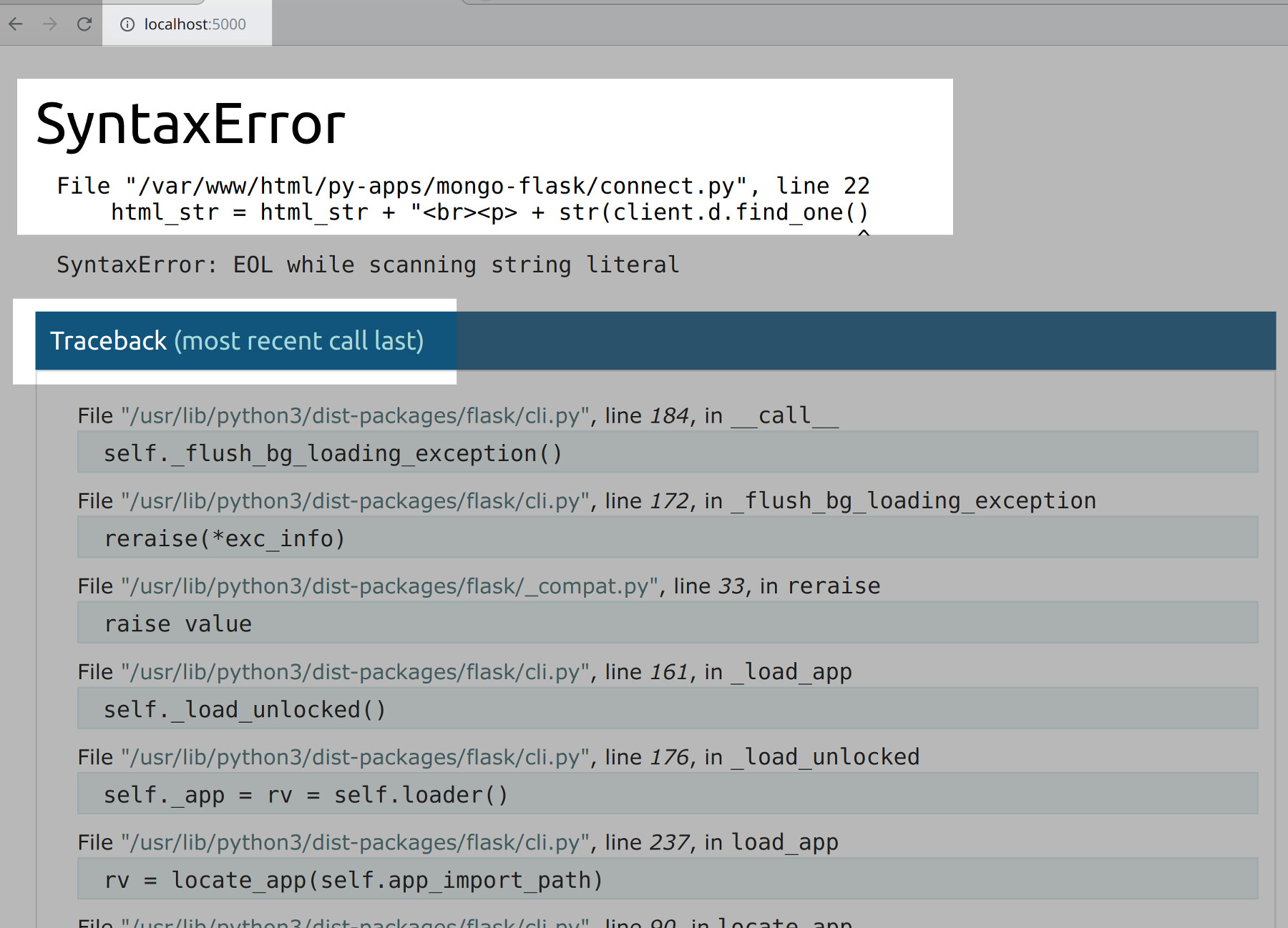 Screenshot of the Wergzeug interactive debugger catching a Python syntax in a Flask application