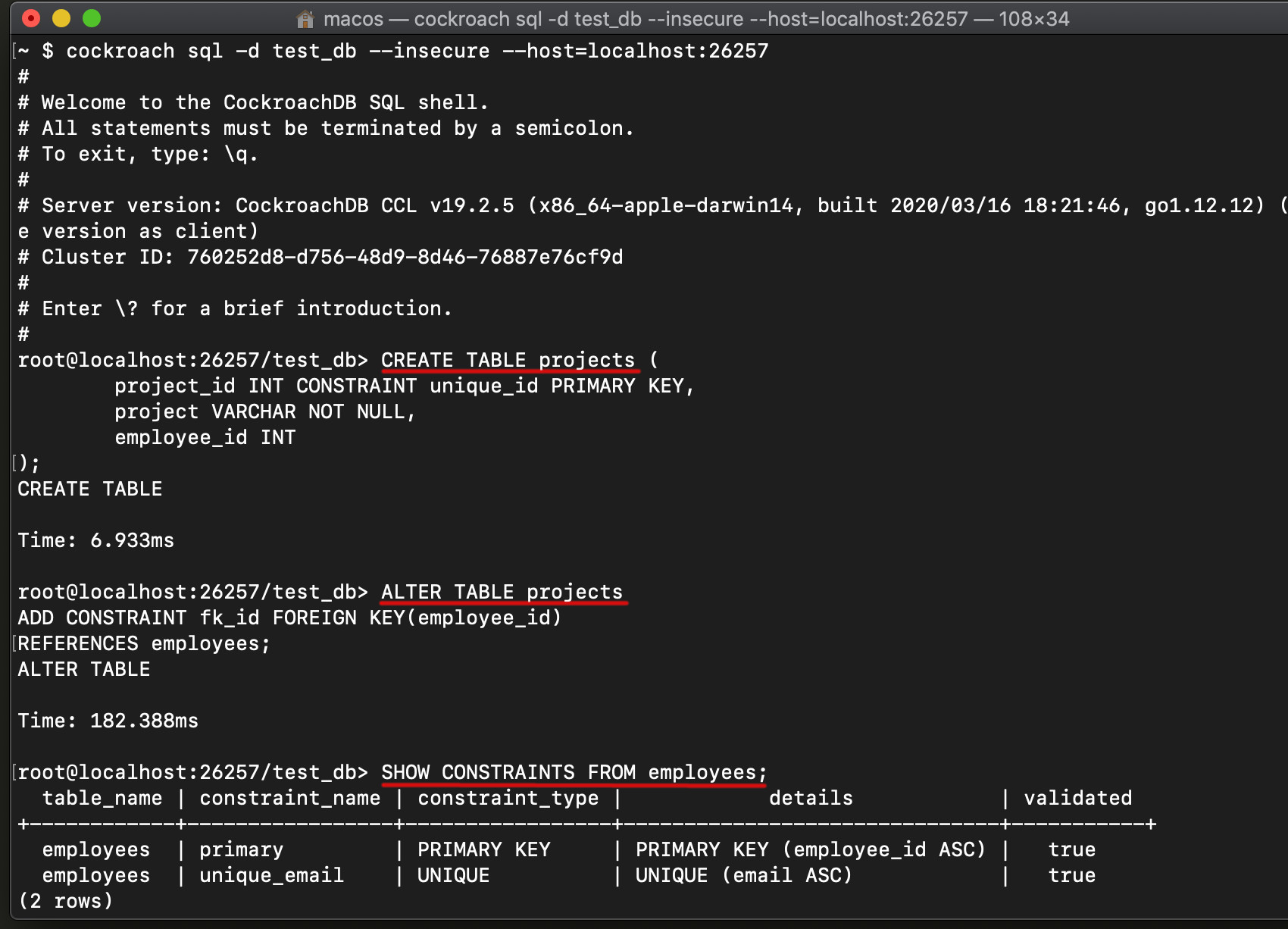 Cockroachdb constraint tutorial to create an SQL table and SHOW CONSTRAINTS